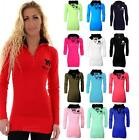 Women's Long Sleeve Hooded Plain Cotton Miss Sexy Ladies Jumper Top UK 8-14
