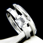 New Hers 2 pc Womens Engagement Stainless Steel Wedding Bridal Ring Set