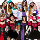 Adult Fancy Dress Costume & Tights Undead New Halloween Outfit Ladies Horror