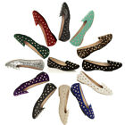 WOMENS LADIES FLAT STUDDED SLIPPERS LOAFERS SLIP ON PUMPS SHOES SIZE