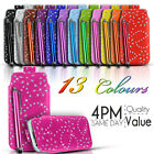 DIAMOND BLING LEATHER PULL TAB CASE COVER POUCH & STYLUS FITS MOST NOKIA MOBILES