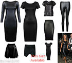 NEW CAP LONG SLEEVE NICOLE PLUS SIZE PVC WET LOOK MIDI DRESS SKIRT TOP LEGGINGS