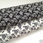 PER FQ or 1/2 metre Abstract rose black/ivory  100 % cotton fabric