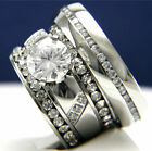 2.04 CT Solitaire CZ Engagement 316 L Stainless Steel Wedding Bridal Rings Set