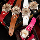 Rose Gold Case Crystal Constellations Pattern Bracelet Quartz Wrist Lady Watch