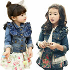 Girl Jacket Jean Denim Coat Outwear Pearl Ruffle Tulle Cowboy 3-7Y Kids Clothing