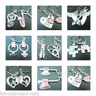 COUPLES LOVERS SET OF 2 I LOVE YOU FOREVER SET TWIN KEYRINGS HEART & KEY JIGSAW