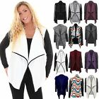 Women's Multi Textured Wet Look Long Sleeve Plain Ladies Waterfall Cardigan