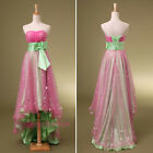 Strapless Hi-low Girls Prom Evening Dresses Junior Party Gowns Green Fuchsia