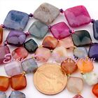 """25,20,14,12mm Square Multicolor Cracked Faceted Agate Gemstone Beads Strand 15"""""""