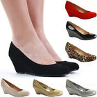 Ladies Wedge Shoes Smart Pumps Wedges High Heel Classic Court Platform Size