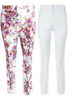 Womens Ladies New Slim Fit Chino Style Multicoloured Floral Print Trousers/Pants