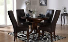 Dark Hudson & Logan Round Extending Dining Table and 4 6 Chairs Set (Brown)