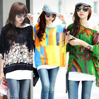Boho Hippie Floral Print Batwing Sleeve Loose Chiffon Sheer Top T Shirt Blouse