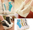 Chic Womens Lace Up High-TOP Sneakers Shoes/Candy Colors Ladys Ankle Wedge Boots