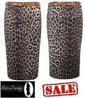 Womens Ladies Animal Leopard Print Belted Stretch Bodycon Pencil Tube Midi Skirt