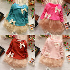 Baby Girls Kids Toddlers Top Lace Bow Princess Long Sleeve Dress Clothes 3M-2Y