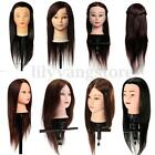 Pro Real/Synthetic Human Hair Hairdressing Training Head Mannequin free Clamp