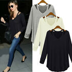 Sexy V Neck Off Shoulder Long Sleeve Casual Modal Plus Loose T Shirt Blouse Tops