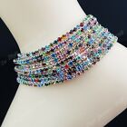 Wholesale Foot Jewelry 6-12pcsColorful Rhinestones Women Wedding Silver Anklets