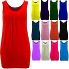 Women's Pleated Sleeveless Causal Plain Gathered Ladies Long Vest Stretch Top