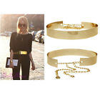 Womens Full Metal Mirror Waist Belt Metallic Plate Wide Obi Band With Chains