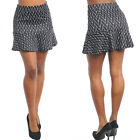 Mini skirt with flared hemline geometric black white Junior S,M,L
