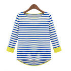 Casual Women Leisure Blouse Round Neck Blue Striped 3/4 Sleeve Lady Shirts Tops