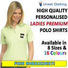 NEW Personalised Uneek Embroidered Ladies Polo Shirts, Workwear, Customised Polo