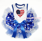 America Flag Heart White Sleeveless Patriotic Star Lace Pet Dog Dress Outfit