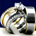 2.04 CT Clear CZ Engagement 316L Stainless Steel Wedding Tungsten Band Ring Sets