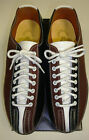 Mens Lace to Toe Bowling Shoes RH/LH Brown & Black Leather Soles FREE SHIP