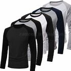 Mens Slim Fit Muscle Long Sleeve Raglan Baseball T-shirt Tee Top Casual Shirt