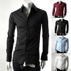 New Men Luxury Slim Casual Formal Business Work Decent Dress Shirt Tops 4 Colors