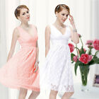 Ladies Lace V Neck Short Mini Evening Bridesmaid Party Prom Cocktail Dress 03410