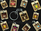 1 PCS colorful handmade owl wood key chain key ring NEW #001KV