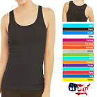 Womens Tank Top 100% Cotton Heavy Weight Ribbed A-Shirt Basic Workout S M L XL