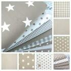 STARS - BEIGE and WHITE COTTON FABRIC by the metre EX WIDE NURSERY BOYS FASHION