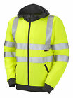 HI VIS VIZ YELLOW HOODIE, HOODED JACKET  SWEATSHIRT  FULL ZIP