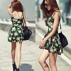 Sexy Sleeveless Floral Flower Print Tunic Peplum Skater Slim Mini Dress Vest Top