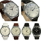 Fashion Men Simple Big Dial Roman Numerals PU Leather Analog Quartz Wrist Watch