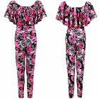Women's Celeb Inspired Off Shoulder Frill Neon Floral Tropical Ladies Jumpsuit