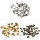 50 Pcs New Antique Silver/Gold/Bronze Leaf Shape Zinc Alloy Metal Bead Caps 6mm