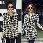 Womens Knit Houndstooth Print Fashion Peplum Jacket Casual Outwear Coat Cardigan