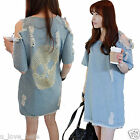 Korean Women Girls Slim Skull Off-shoulder Jeans Denim Short Sleeve Loose Dress