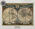 Large vintage World map on 4 panel canvas - ready to hang