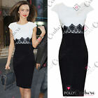 Womens Celeb Style Lace Pencil Bodycon Shift Towie Monochrome Ladies Tea Dress