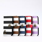 Leather Navy Stripes Anchor Rudder Stand Case Cover for Samsung GALAXY S4 I9500