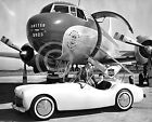 1950s UNITED AIRLINES STEWARDESS IN CONVERTIBLE AT DC 3  PHOTO