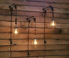 Pulley Wall Mount with Industrial Wooden Handle Cage Light  and Cloth Wire Cord